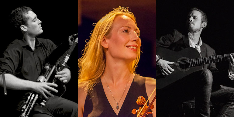 Uilleann pipe master David Power, baroque violinist Marja Gaynor, virtuoso flamenco guitarist John Walsh